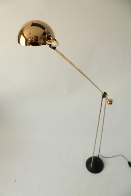 Late 20th Century Gold-Plated Halogen Floor Lamp, Yuki from Stephano Cevoli, 1980s, Italia For Sale