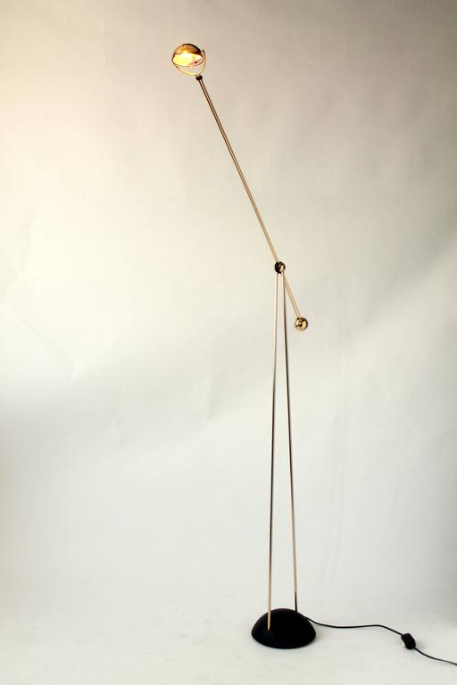 Italian Gold-Plated Halogen Floor Lamp, Yuki from Stephano Cevoli, 1980s, Italia For Sale