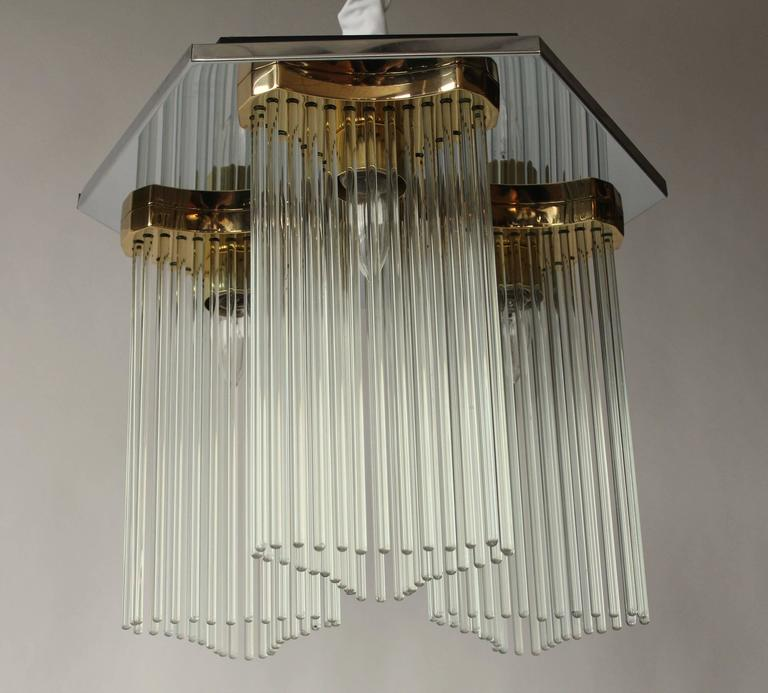 Late 20th Century Sciolari Glass Rods, Brass and Chrome Three Lights Flushmount, 1970s , Italia For Sale