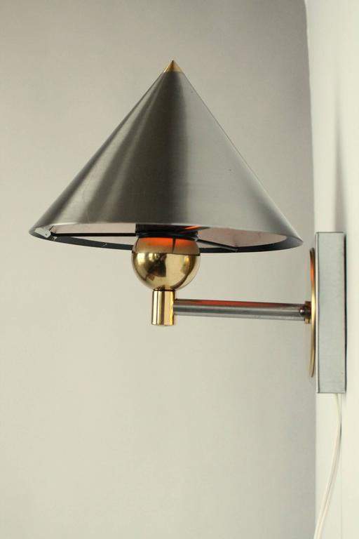 Pair of Bedside Wall Lamps in Brushed Stainless Steel and Brass, 1990s, USA For Sale at 1stdibs