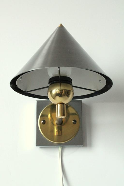 Brass Bedside Wall Lights : Pair of Bedside Wall Lamps in Brushed Stainless Steel and Brass, 1990s, USA For Sale at 1stdibs