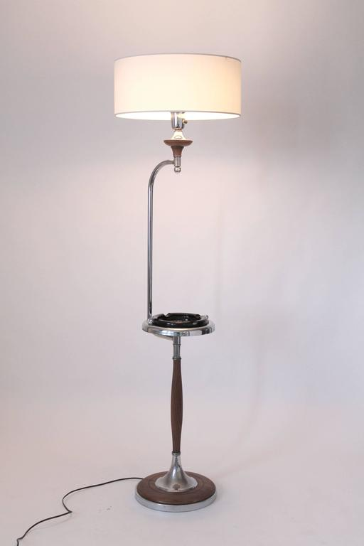 Mid-20th Century Art Deco Floor Lamp/Ashtray Combo, Walnut and Chrome, 1930s, USA For Sale