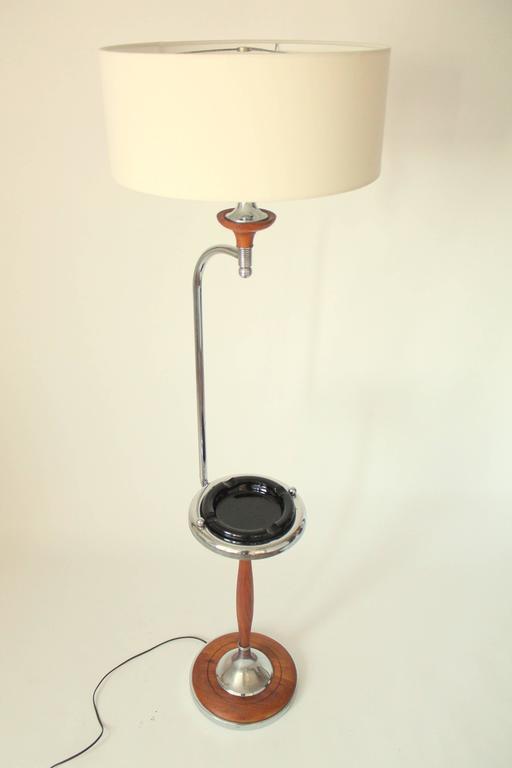 Art Deco Floor Lamp/Ashtray Combo, Walnut and Chrome, 1930s, USA For Sale 1