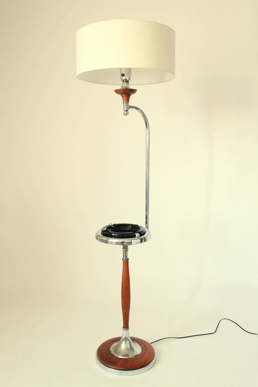 Art Deco Floor Lamp Ashtray Combo Walnut And Chrome
