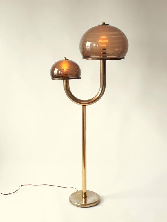 Smoked acrylic shade and brass plated floor lamp mid for Brass floor lamp made in usa