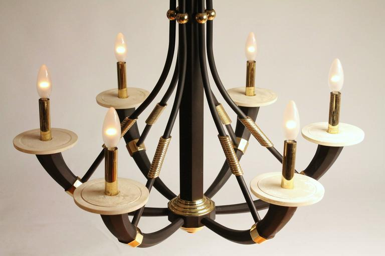 Modern Solid Brass Six Arms Chandelier, 1980s, Italia For Sale