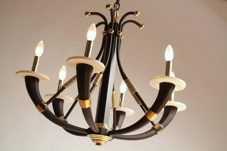Anodized Solid Brass Six Arms Chandelier, 1980s, Italia For Sale