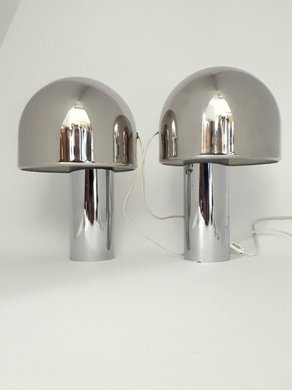 Pair Of Reggiani Magnetic Rotating Shade Chrome Table Lamp