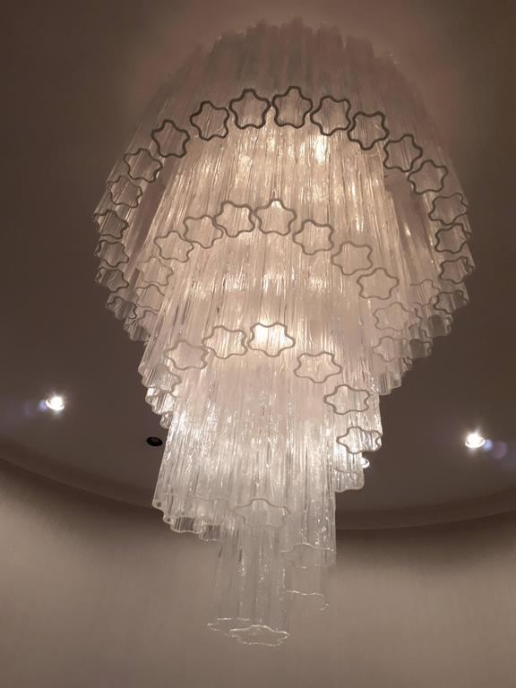 Mid-Century Modern 1960s , Early Venini ' Tronchi '  Massive Waterfall Chandelier ,  Italia