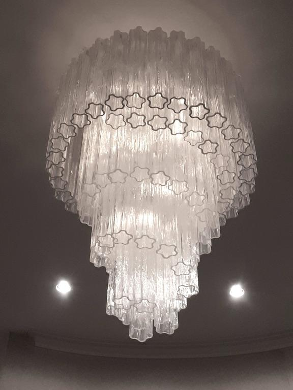Mid-20th Century 1960s , Early Venini ' Tronchi '  Massive Waterfall Chandelier ,  Italia