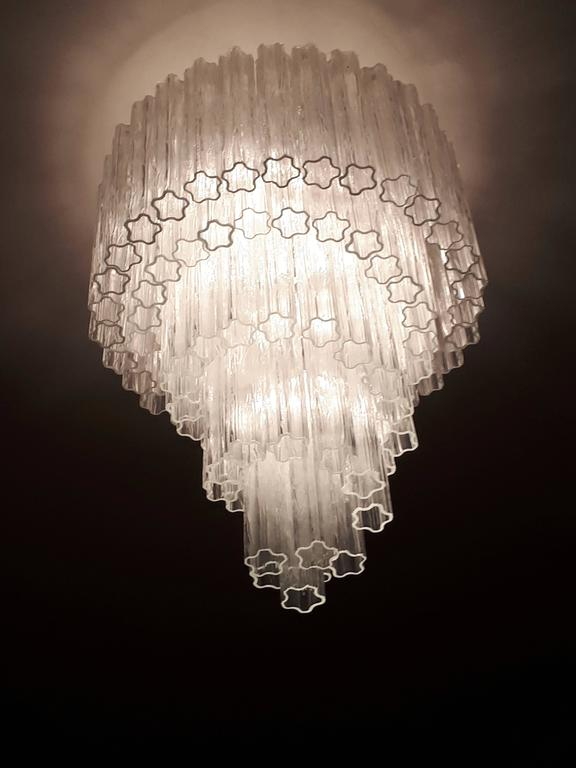 Italian 1960s , Early Venini ' Tronchi '  Massive Waterfall Chandelier ,  Italia