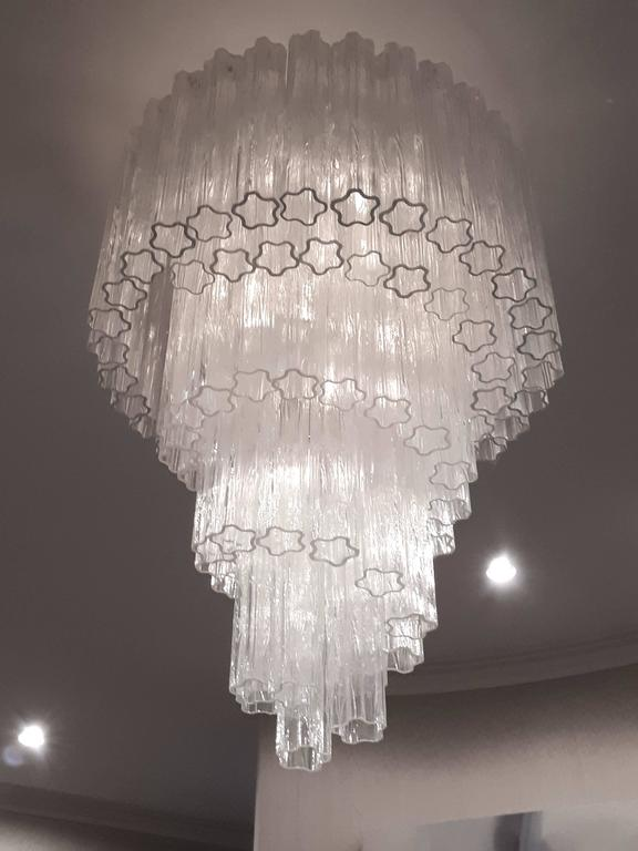 1960s , Early Venini ' Tronchi '  Massive Waterfall Chandelier ,  Italia 2