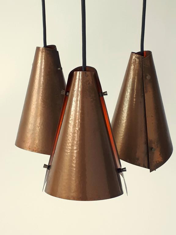 Danish Hand Hammered Copper Pendant , 1960s , Denmark For Sale
