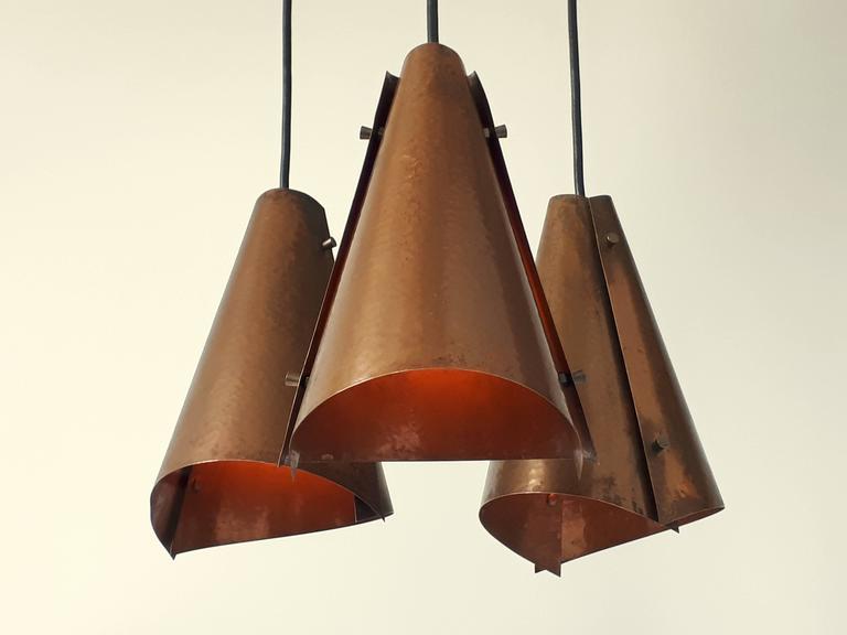 Mid-Century Modern Hand Hammered Copper Pendant , 1960s , Denmark For Sale