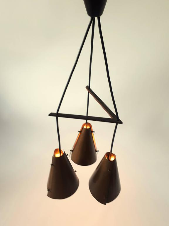 Hand Hammered Copper Pendant , 1960s , Denmark For Sale 2