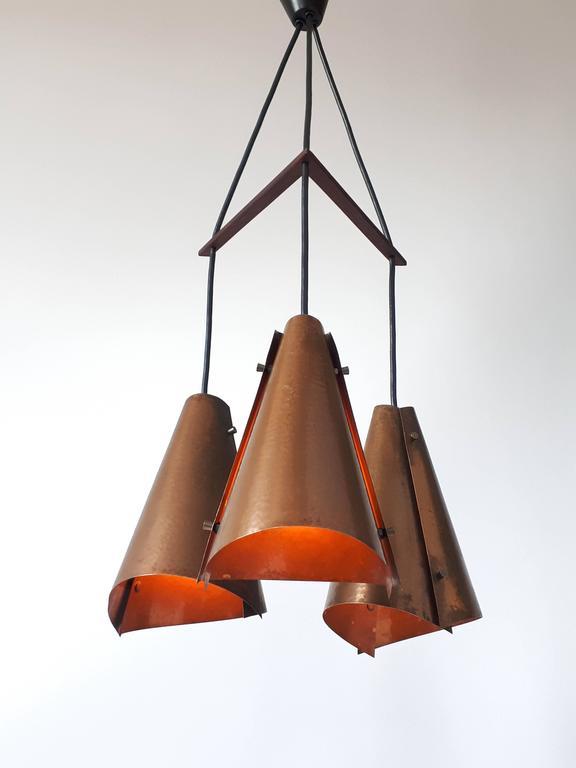 Hand Hammered Copper Pendant , 1960s , Denmark For Sale 3