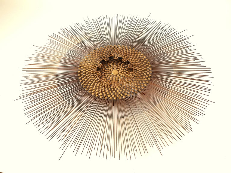 Brass Extra Large Massive Sunburst Wall Art in the Style of Curtis Jere, 1970s, USA For Sale