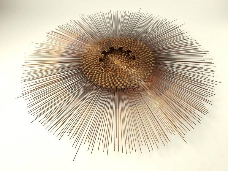 Mid-Century Modern Extra Large Massive Sunburst Wall Art in the Style of Curtis Jere, 1970s, USA For Sale