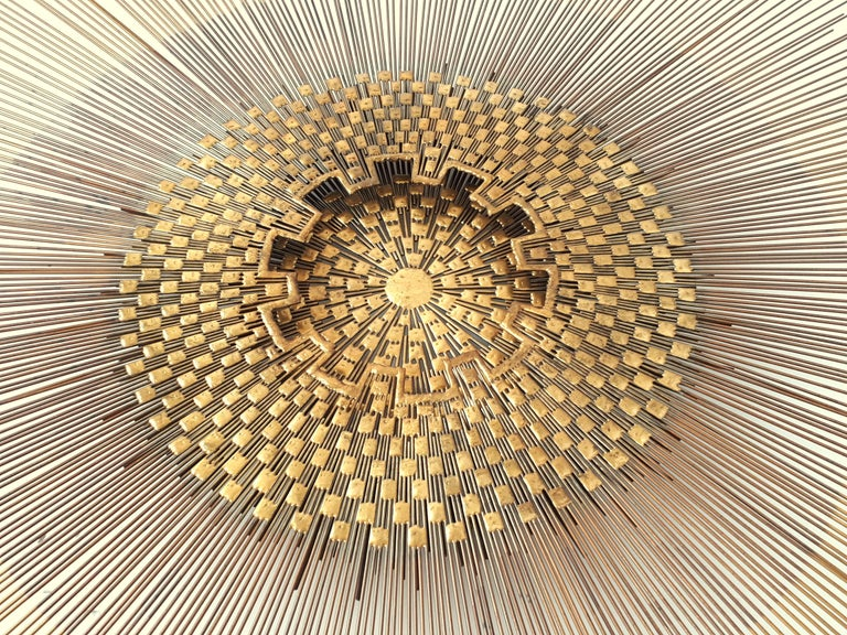Late 20th Century Extra Large Massive Sunburst Wall Art in the Style of Curtis Jere, 1970s, USA For Sale