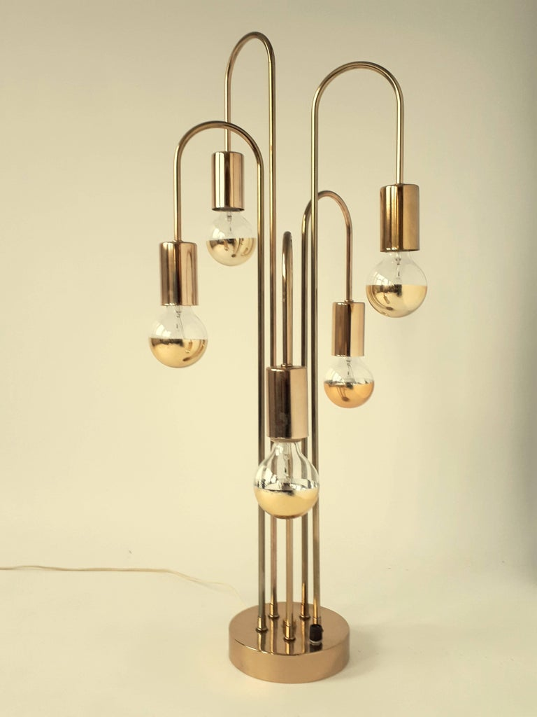 Waterfall Brass-Plated Table Lamp, 1970s, USA 2