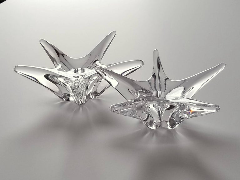 Pair of Daum Star Crystal Candle Holder , 1970s , France For Sale 4