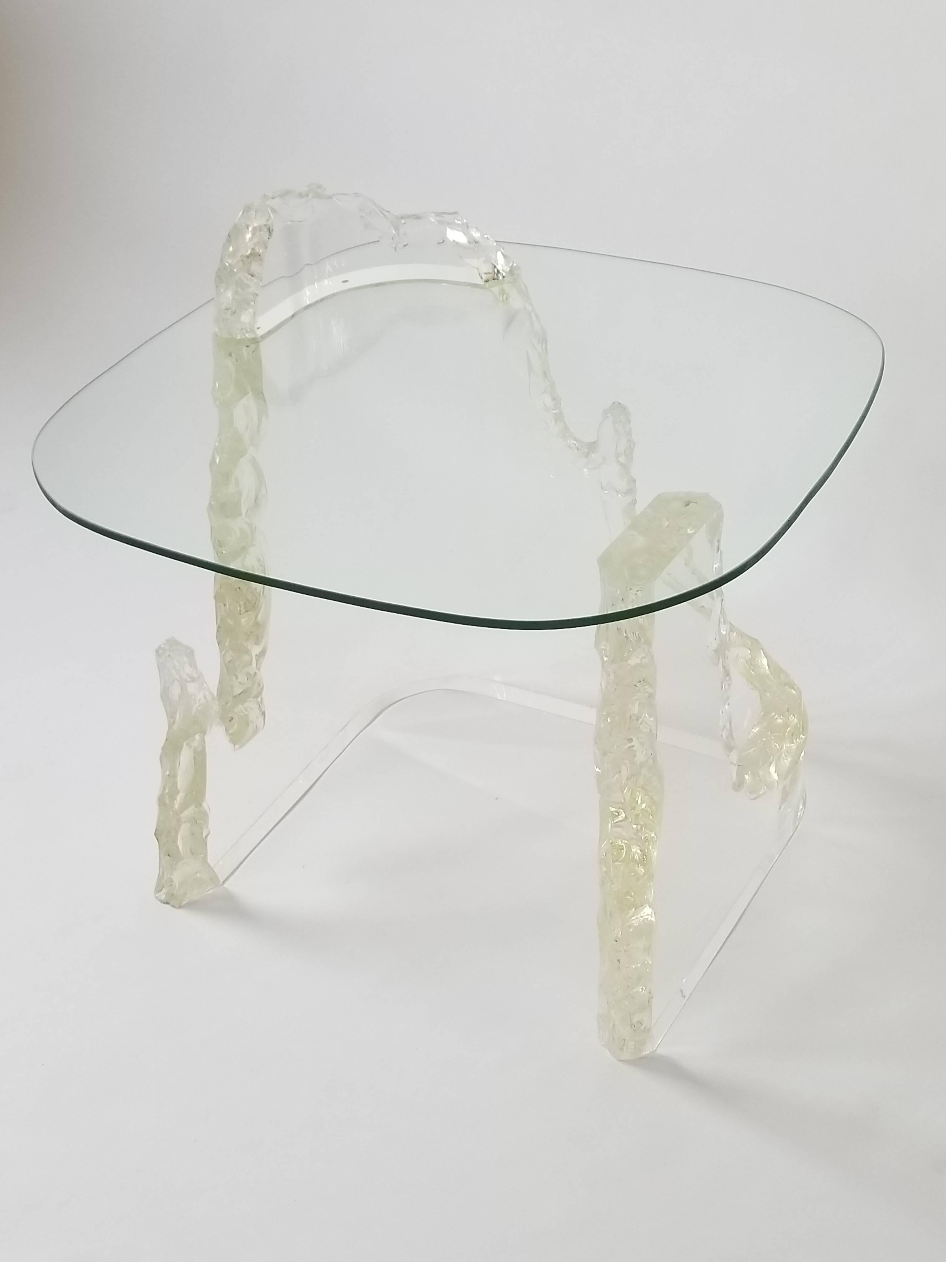 Lucite Iceberg Side Table From Lion In Frost, 1970S, Usa