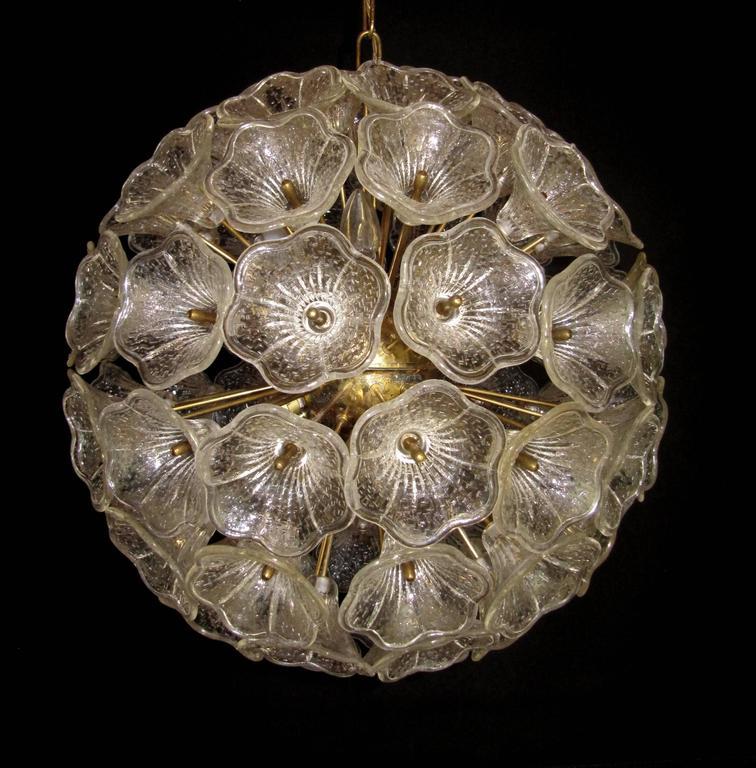 Large Sunburst Murano Glass Chandelier, Venini Style, 1960s 3