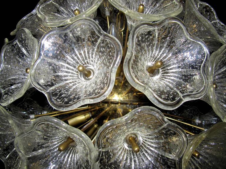 Large Sunburst Murano Glass Chandelier, Venini Style, 1960s 5