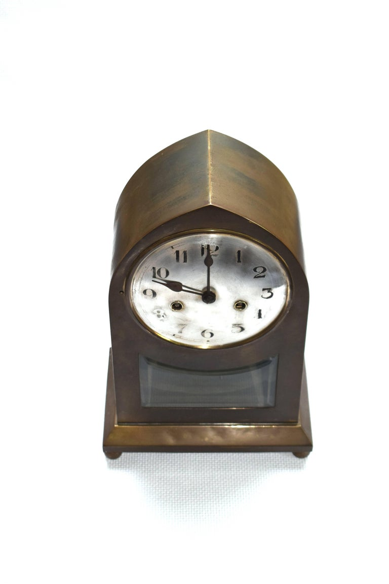 Large Viennese Secession Table Clock Made Of Brass For