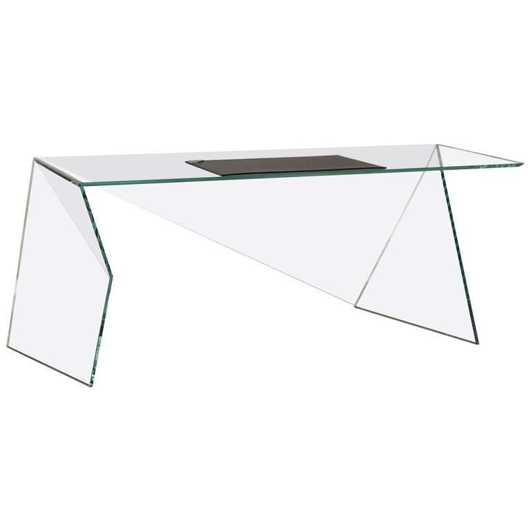 Executive Desk Table Modern Glass Crystal Limited Edition Design For Sale