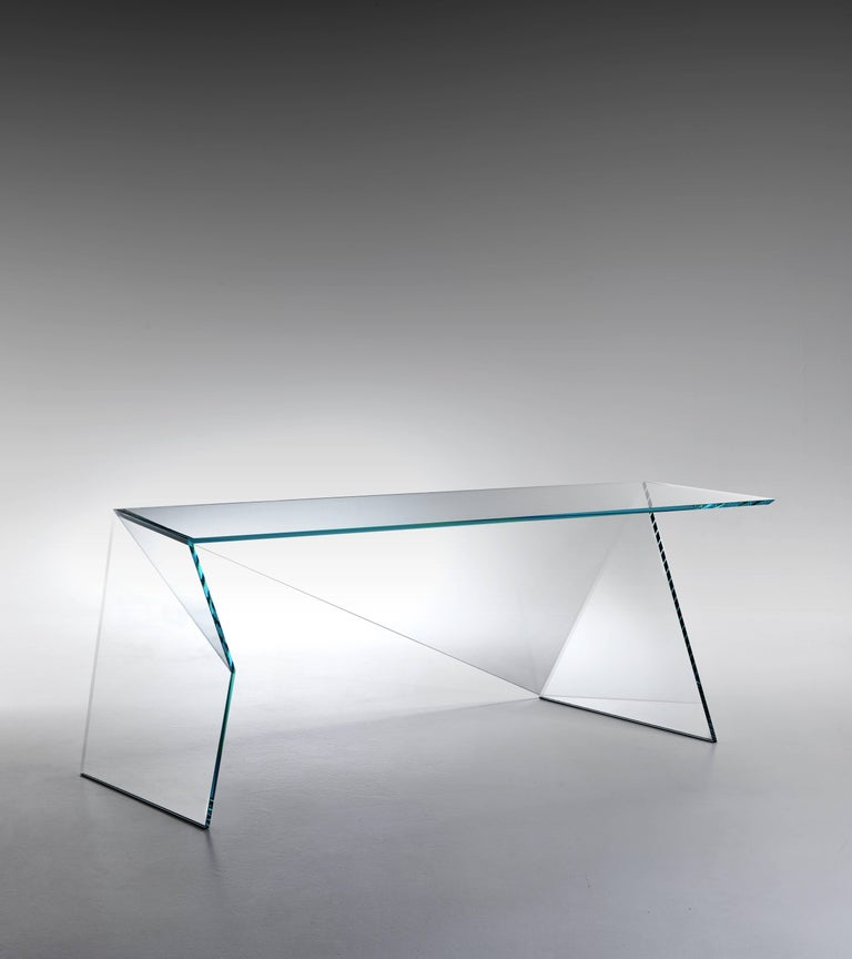 Italian Executive Desk Table Modern Glass Crystal Limited Edition Design For Sale