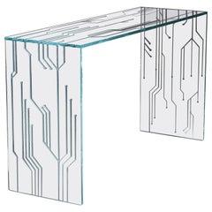 Console Modern Rectangular Glass Crystal Italian Limited Edition Design