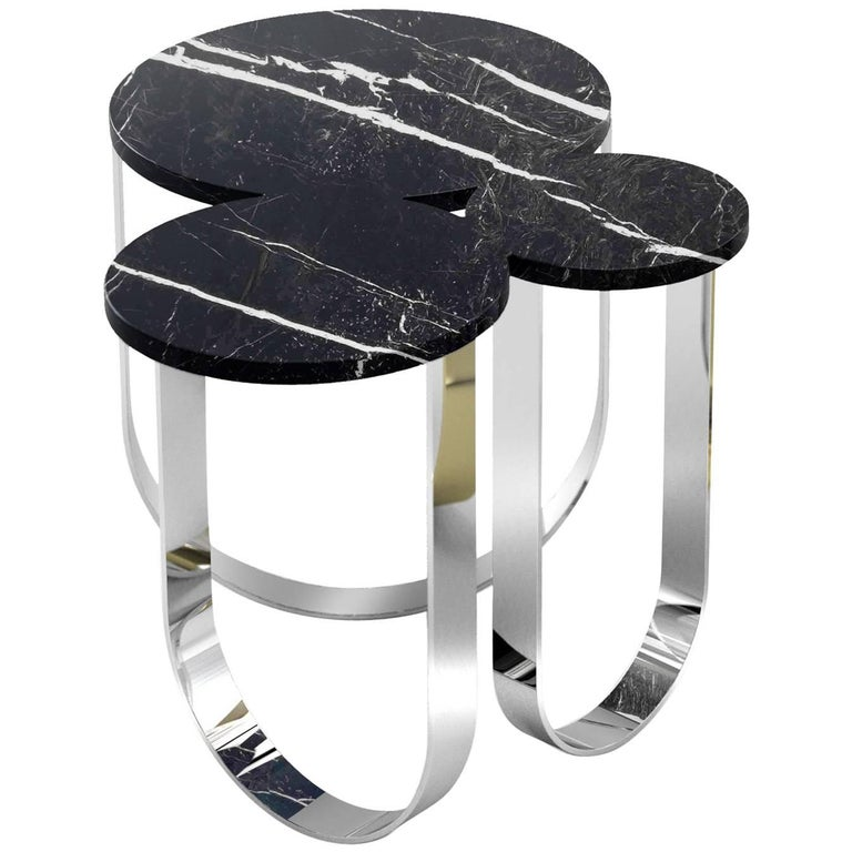 Side Table Round Circular Marble Black Steel Contemporary Design For Sale