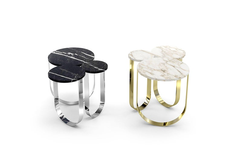 Italian Side Table Round Circular Marble Black Steel Contemporary Design For Sale