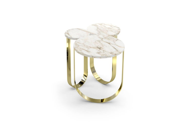 Polished Side Table Round Circular Marble Black Steel Contemporary Design For Sale
