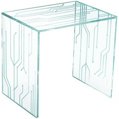 Side Table Square Glass Crystal Italian Contemporary Design