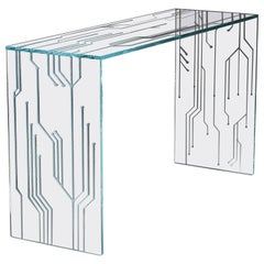 Console Rectangular Table Glass Crystal Italian Contemporary Design