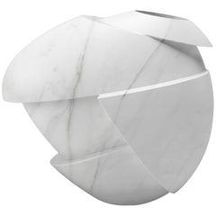 Sculpture Vase Contemporary Marble White Carrara Italian Design