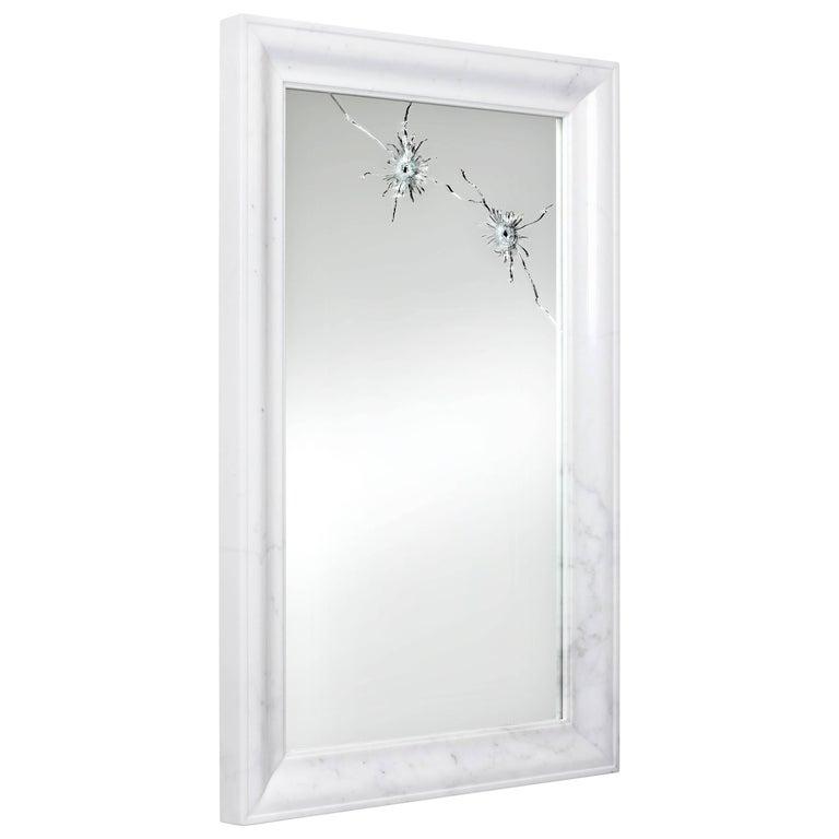 Wall Mirror Rectangular White Marble Italian Contemporary Design