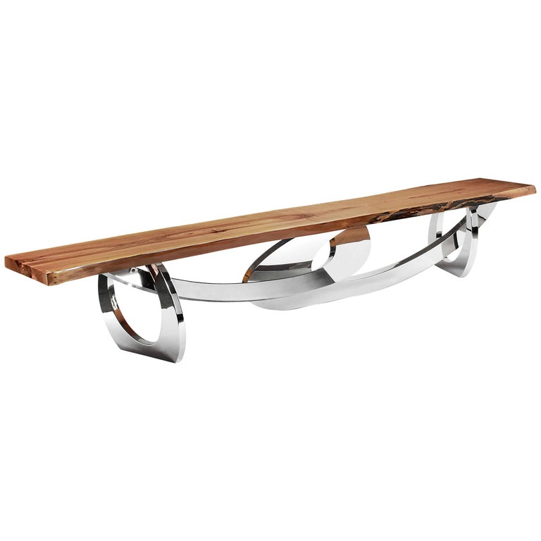 Bench Modern Contemporary Wood Steel Italian Limited Edition Design