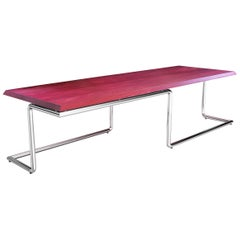 Executive Desk Rectangular Wood Purple Steel Italian Contemporary Design