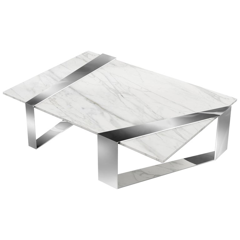 Coffee Table Rectangular Marble White Steel Italian Contemporary Design
