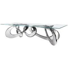 Dining Table Rectangular Glass Steel Italian Contemporary Design
