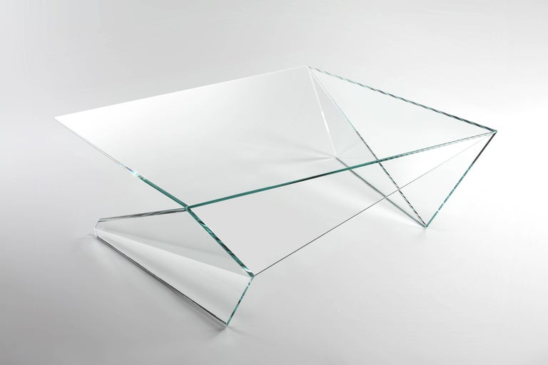 Italian Coffee Table Square Glass Crystal Contemporary Design For Sale