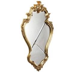 Mirror Classic Frame Golden Rococo Italian Marble White Brass Design