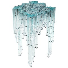Side Table Modern Square Glass Crystal Italian Limited Edition Design