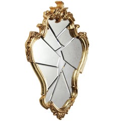 Wall Mirror Classic Frame Golden Rococo Italian Contemporary Design