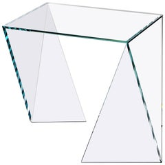 Side Table Square Glass Crystal Contemporary Design
