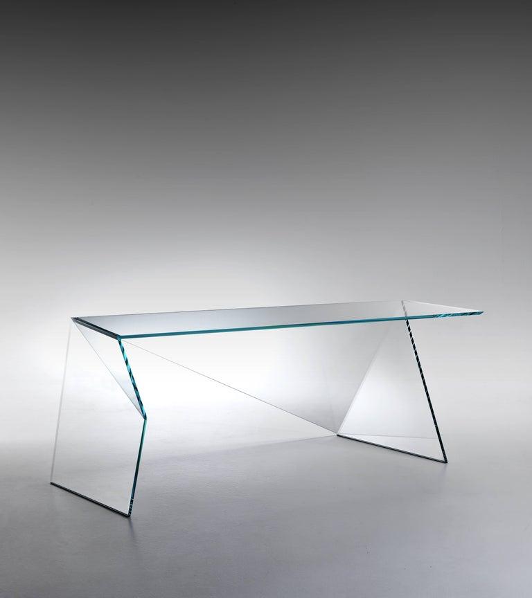 Italian Executive Desk Table Modern Glass Crystal Limited Edition Design For Sale