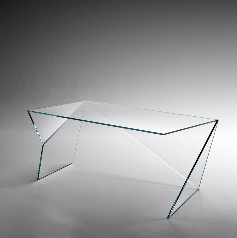 Hand-Crafted Executive Desk Table Modern Glass Crystal Limited Edition Design For Sale